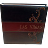 Brown executive look embossed large Photo Album has Las Vegas on the front and decorative Swirls on the right side.