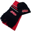 Red, black and white CHILD sized scarf and black knit cap. Both have Las Vegas embroidered in Red on them.