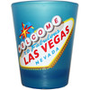 BLUE Frosted Glass Las Vegas shotglass showing an outline of our world famous Las Vegas Welcome Sign.