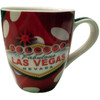 Oversized Las Vegas Souvenir Ceramic mug with a Dice design and the Las Vegas Sign.