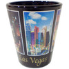 Ceramic Black Las Vegas shotglass showing 5 different views of the city.