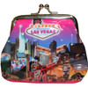 Metal snap closure on this pink plastic Las Vegas Coin purse with our Pink Skies design showcasing the Popular Las Vegas Casinos.