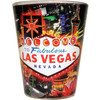 Glass Las Vegas shotglass with a full body colorful wrap background, Las Vegas sign, casinos, and icons in the background.