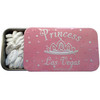 """Tin rectangle slide open box of white """"lip shaped"""" mints. Design on Tin is pink background with while imprint of """"Princess Las Vegas"""" and a crown."""