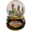 Acrylic base and a Glass Snowglobe. Base is Black with colorful icons. Inside the snowglobe has glitter snow and colorful 3D versions of the Las Vegas Casinos that you know and love.