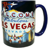 Oversized Las Vegas ceramic coffee mug with a prominent Las Vegas Sign design embossed design with a patriotic flag background, side view.