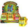 Case of multi colored plastic shapped slot machines that dispenses colorful candy when slot handle is pulled.
