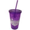 Las Vegas Tumbler with Straw- Purple- 16oz.