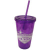 Purple Plastic Tumbler with Straw, screw top lid, and White Welcome to Las Vegas Sign design on it.