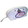 White vinyl elongated cosmetic purse with brightly colored stars and a colorful Las Vegas Sign on the design.
