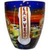 Las Vegas on the handle of the Glittery Star Collage ceramic mug.