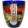 Las Vegas on the handle of the Glittery Star Collage ceramic mug.