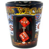 Ceramic Black Las Vegas shotglass showing spinning mini dice on the front and our US Flag design all around it.