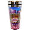 Stainless Steel Sleek Travel Mug which has our Blue/Purple Collage Design all over it. Showcases Vegas Casinos on a Blue and Purple Hue Background.