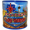 Tin bank in cylinder shape with colorful NEON Las Vegas Design all over it.