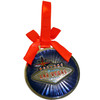 Round Metal Las Vegas ornament with a Red Ribbon and Back Side has the Las Vegas Welcome Sign.