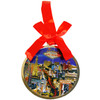Round Metal Las Vegas ornament with a Red Ribbon and LV Strip Design in the Center.