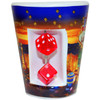 Ceramic Blue background with stars shotglass showing spinning mini dice on the front.