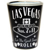 Glass Las Vegas shotglass with a full body black wrap background, Las Vegas Let The Good Times Roll in white design on the front.