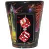 Ceramic black Las Vegas Fireworks shotglass showing spinning mini dice on the front.