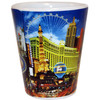 Las Vegas casinos on this side of the ceramic shotglass. Very colorful design.