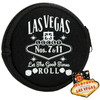 Black Round shape cloth coin purse, White print Las Vegas Let the Good Times Roll with dice design.