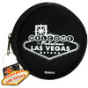 Black Round shape cloth coin purse, White print Las Vegas Let the Good Times Roll with dice design- back side.