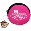 Pink Round cloth coin purse, White print Las Vegas Let the Good Times Roll with dice design-back side.
