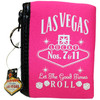 Pink cloth coin purse, White print Las Vegas Let the Good Times Roll with dice design, pull ring on the zipper.