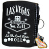 Black cloth coin purse, White print Las Vegas Let the Good Times Roll with dice design, pull ring on the zipper- back side.
