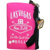 Pink cloth coin purse, White print Las Vegas Let the Good Times Roll with dice design, wristlet strap on the zipper- back side.