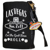 Black cloth coin purse, White print Las Vegas Let the Good Times Roll with dice design, wristlet strap on the zipper- back side.