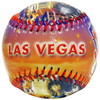 Baseball with a colorful Las Vegas Lettering on this side of it.
