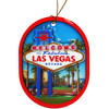 Oval Shape Ornament with colorful Las Vegas Sign in the middle, 3-D feel to it.