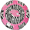 Back side of the Round Poker Chip Shape Decorative Pillow in Hot Pink and Zebra accent, design looks like a poker hand in cards.