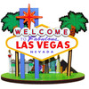Wooden 3-D cut out of the Las Vegas Sign and Icon Casinos in the Background.
