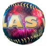 Baseball with a colorful Las Vegas Yellow Lettering and Big Fireworks exploding in the background.