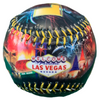 Baseball with a colorful Las Vegas Yellow Lettering and scenes of Bright and Big Fireworks exploding over scenes of the Las Vegas Strip.