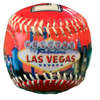 Bright Red Baseball with Las Vegas Lettering and the Vegas welcome sign and casino background scene on it.