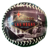 Black Baseball with a colorful Las Vegas welcome sign and scenes on the top of it.