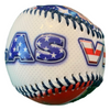 Patriotic themed red, white, and blue Baseball with a fun Las Vegas font.