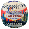 Patriotic themed red, white, and blue Baseball with a colorful Las Vegas scenes on it.