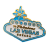 Metal Las Vegas Welcome sign shaped Lapel Pin in Blue Hues with White.