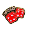 Metal Las Vegas Rolling dice shaped Lapel Pin.