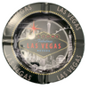 Round tin ashtray with a Gray Skyline design on it showing iconic casinos and landmarks.