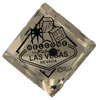 Crystal Clear LV Die with Black Rhinestones and a Las Vegas Sign Welcome design front for the One Pip.