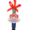 Metal Las Vegas Soldier Shape ornament that also has the Las Vegas Welcome Sign; with a Red Ribbon.