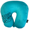 Las Vegas Welcome Sign is Embroidered in Black on the Front of this Light Blue Travel Neck Pillow.
