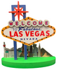 Iconic Las Vegas Casinos as a backdrop on this mini Las Vegas Sign replica that lights up. Colorful and fun Vegas souvenir or gift idea.