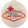 Bright Colorful Las Vegas Welcome Sign on a White Background Round Las Vegas Compact Mirror.